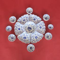 Bộ bát đĩa hoa mặt trời họa tiết Phù Dung xanh lam - gốm sứ thủ công tại Bát Tràng