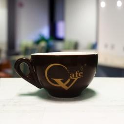 Tách sứ cà phê Capuccino in logo thương hiệu Vcafe 280ml (Nâu)