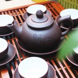 Bộ ấm trà tử sa chóp thư pháp chữ Thuận