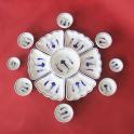 Bộ bát đĩa hoa mặt trời họa tiết xanh lam - gốm sứ thủ công tại Bát Tràng