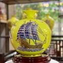 Bình hút lộc vẽ vàng gốm sứ thuận buồm xuôi gió