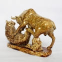 tượng trâu phong thủy vẽ vàng gốm Bát Tràng_3