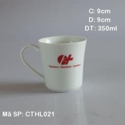 Cốc sứ miệng loe in logo tặng khách hàng (Trắng)