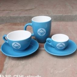 Bộ cốc tách cafe in logo Cloudy Coffe (Xanh kabe)