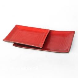 02 Khay sứ chữ nhật dáng Japan (Đỏ)
