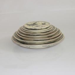Bộ 08 đĩa sứ vẽ hoa văn tam thái cổ