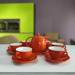 Bộ ấm chén cà phê Ý màu men cam lòng trắng