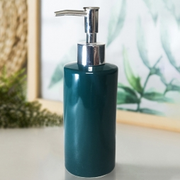 Bình đựng nước rửa tay - sữa tắm - dầu gội - dưỡng thể bằng gốm sứ dáng trụ (xanh cổ vịt)