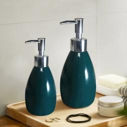 Bình phịt gốm sứ đựng dầu gội - sữa tắm dáng bầu (Xanh cổ vịt)