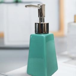 Lọ đựng nước rửa tay bằng sứ tráng men - hình thang (xanh ngọc)