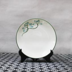 Đĩa sứ tròn cao cấp vẽ tay Sen xanh 20cm (Trắng)