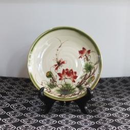 Đĩa sứ tròn Men xanh rêu cổ Sen đỏ phi 16cm
