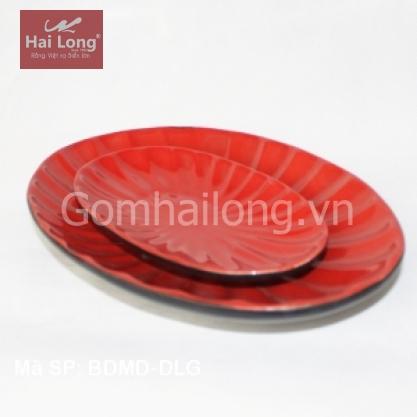 Đĩa sứ bầu dục lá phong cách Nhật Bản (Đỏ)