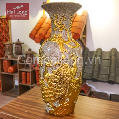Lọ Lộc Bình men rạn gạo nếp dát vàng Gốm sứ Hải Long
