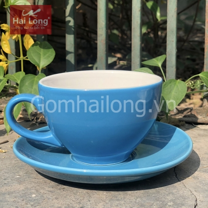 Tách Cà phê Capuccino Ý 280 (Xanh Kabe) - Gốm sứ Hải Long Bát Tràng