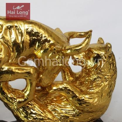 tượng trâu dát vàng gốm sứ_5