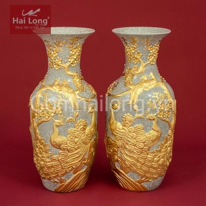 Lọ Lộc Bình men Rạn Gạo Nếp dát vàng tích Trường Xuân Phú Quý H60