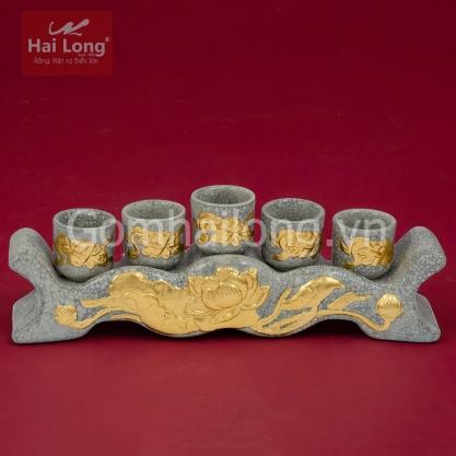 Kỷ thờ cúng 5 ngai men Rạn Gạo Nếp dát vàng